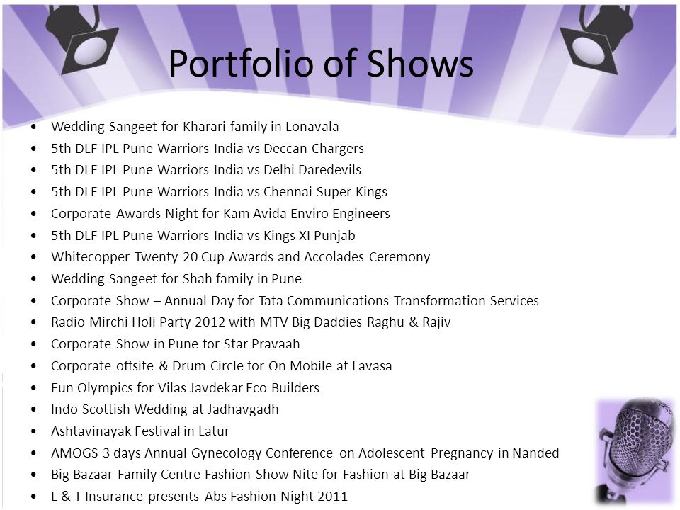 Portfolio of Shows • Wedding Sangeet for Kharari family in Lonavala