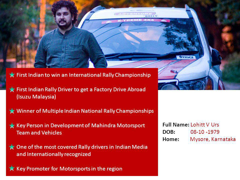 First Indian to win an International Rally Championship
