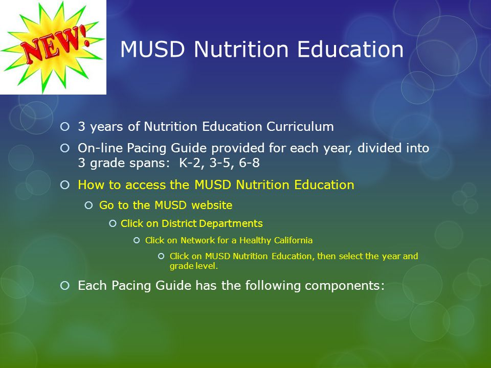 MUSD Nutrition Education