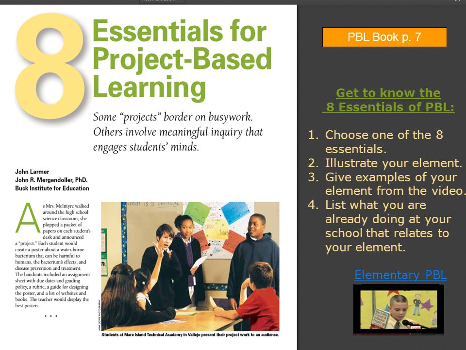Get to know the 8 Essentials of PBL: