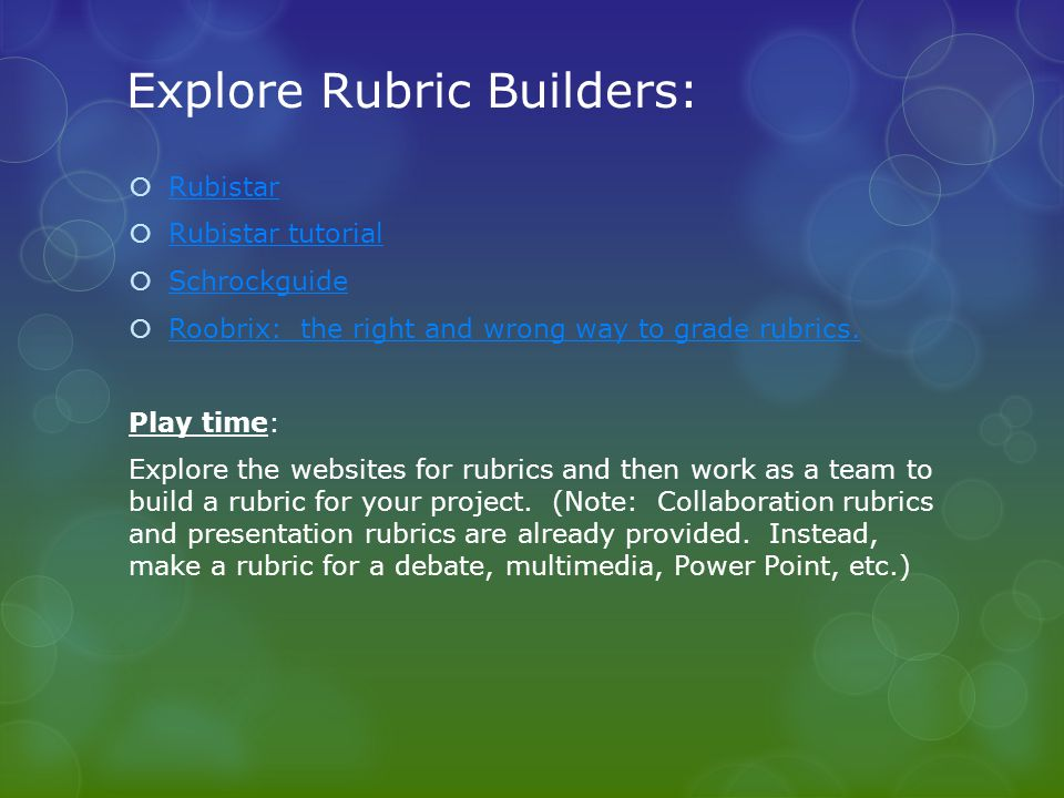 Explore Rubric Builders: