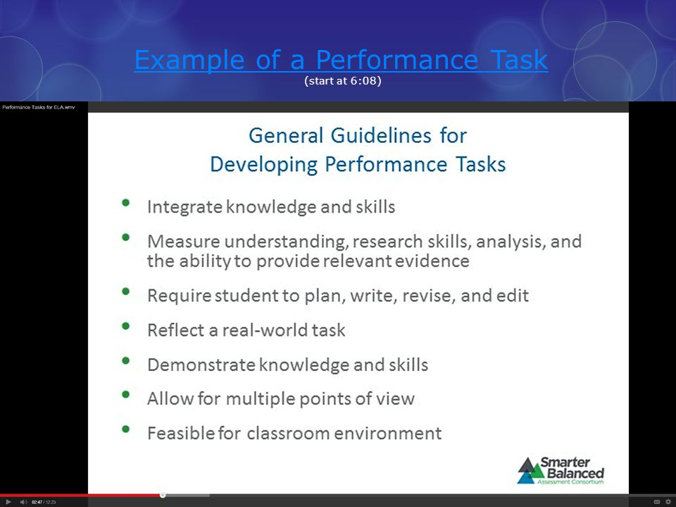 Example of a Performance Task