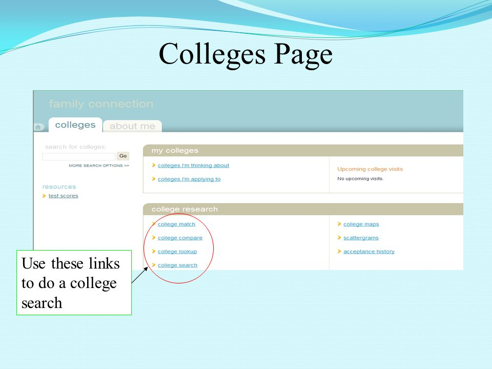 Colleges Page Use these links to do a college search