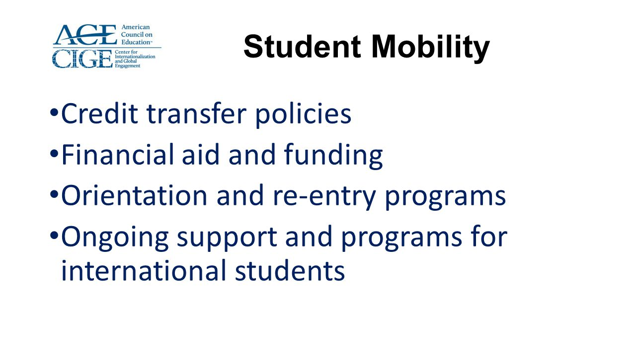 Credit transfer policies Financial aid and funding