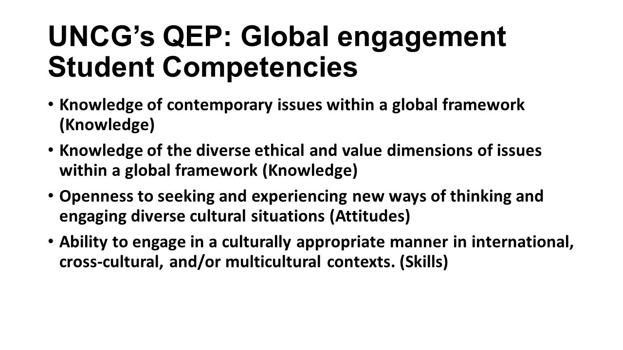 UNCG's QEP: Global engagement Student Competencies