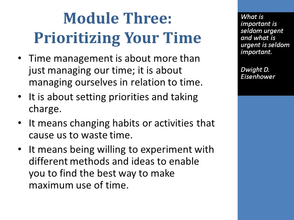 Module Three: Prioritizing Your Time