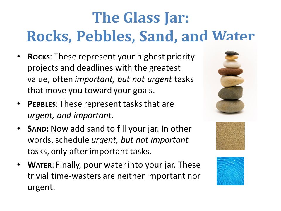 The Glass Jar: Rocks, Pebbles, Sand, and Water