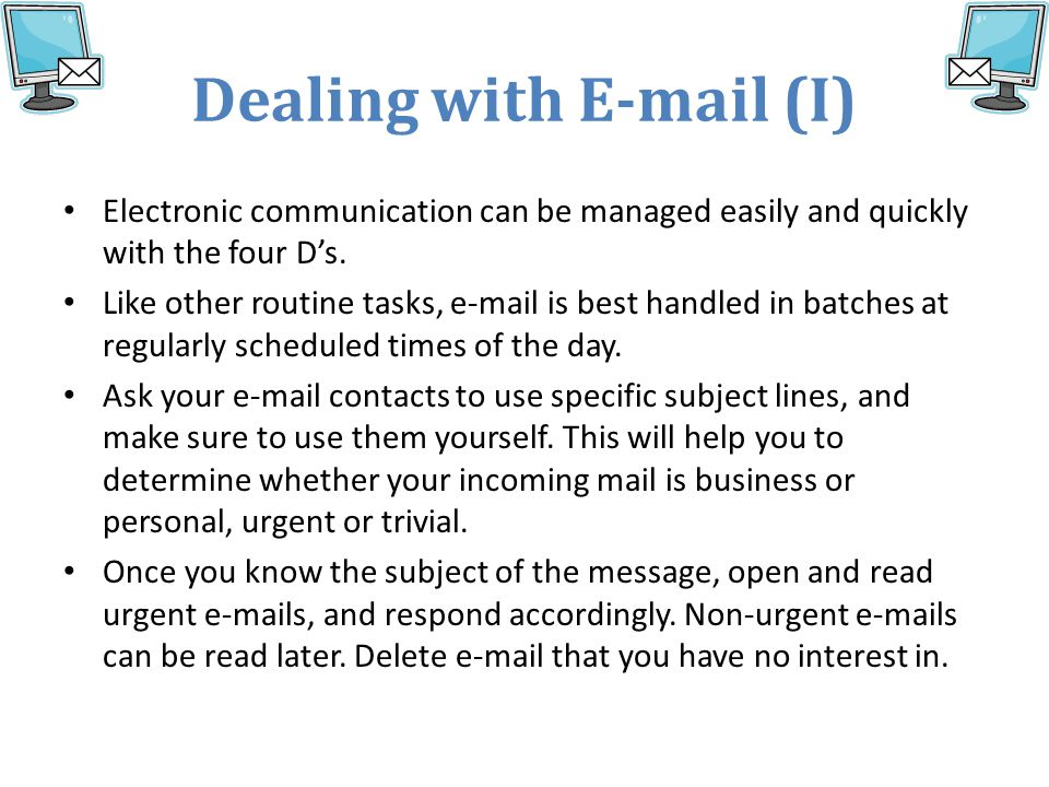 Dealing with E-mail (I)