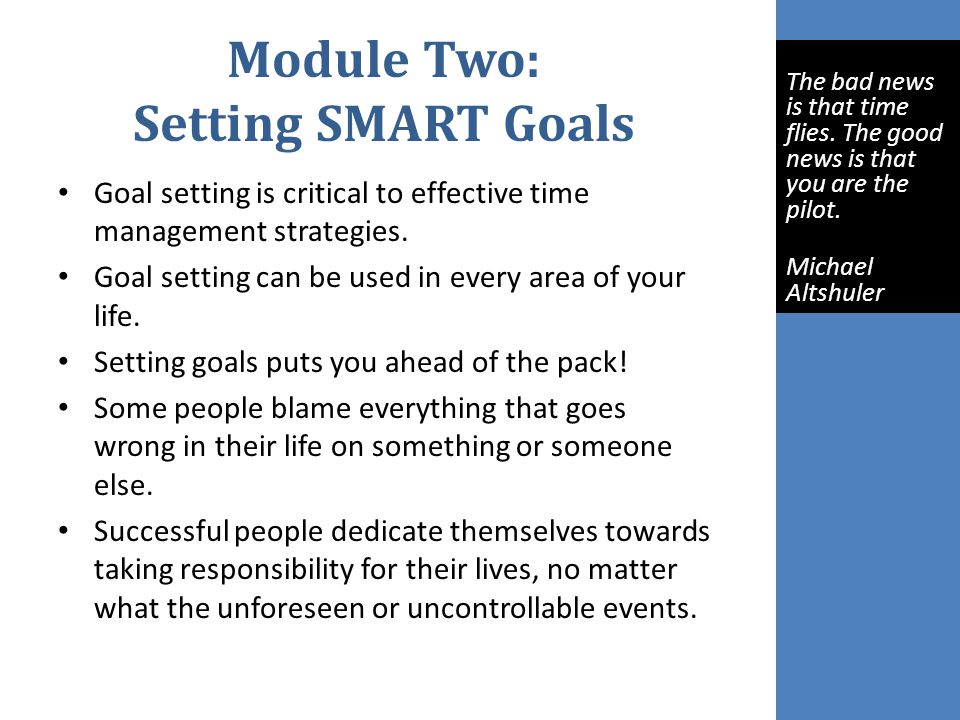 Module Two: Setting SMART Goals