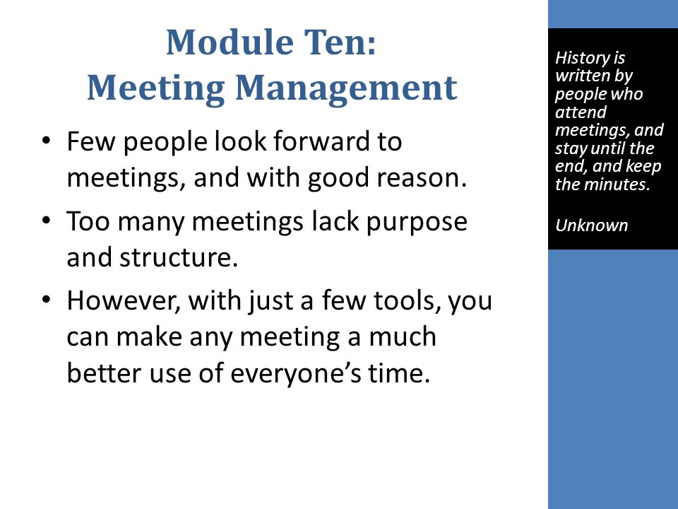 Module Ten: Meeting Management