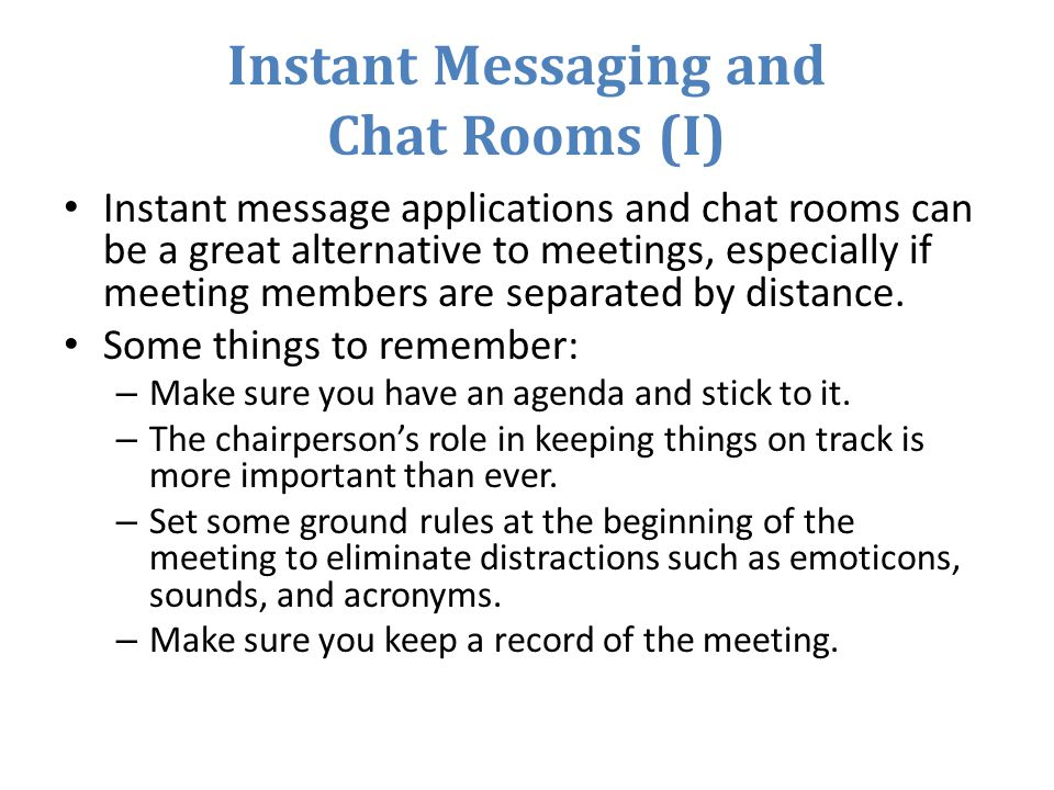 Instant Messaging and Chat Rooms (I)