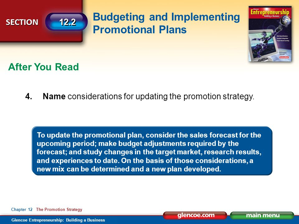 After You Read 4. Name considerations for updating the promotion strategy.
