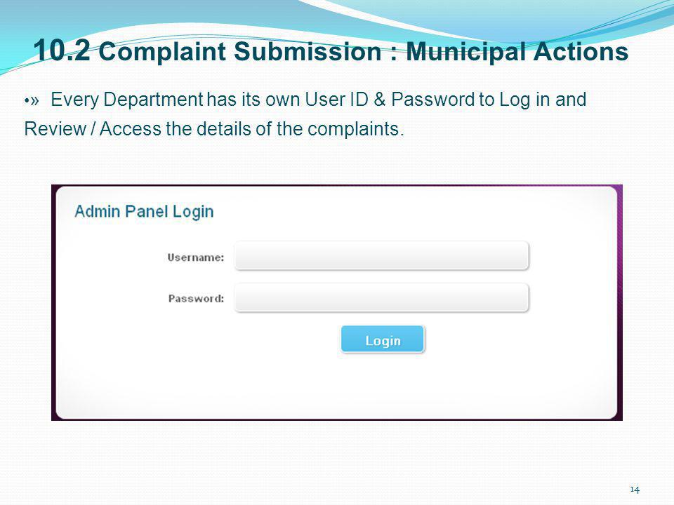 10.2 Complaint Submission : Municipal Actions
