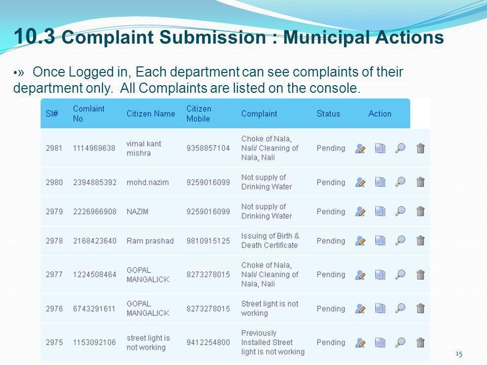 10.3 Complaint Submission : Municipal Actions