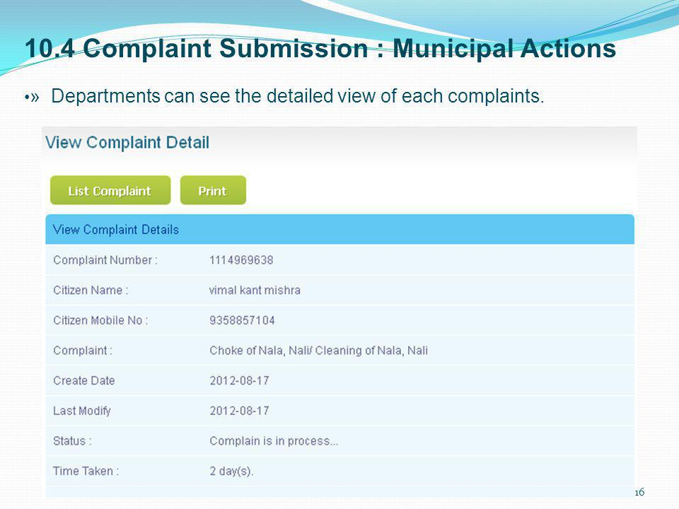 10.4 Complaint Submission : Municipal Actions