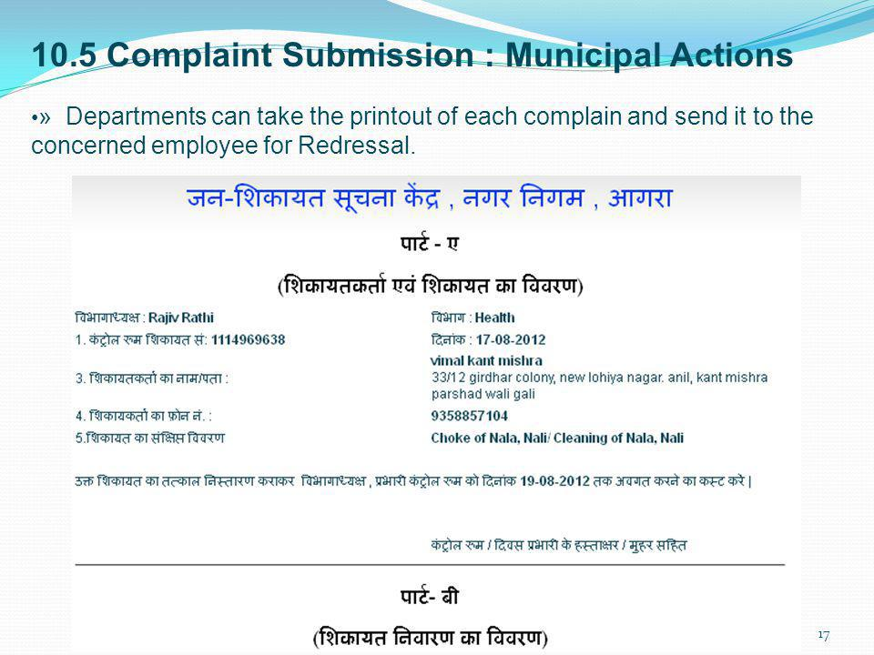 10.5 Complaint Submission : Municipal Actions