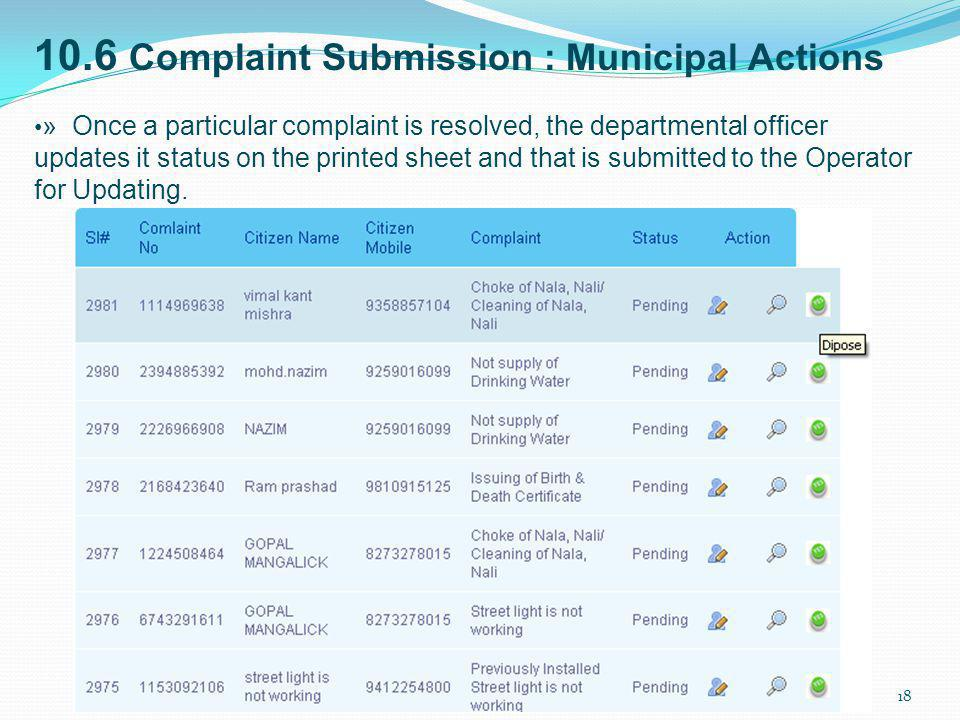 10.6 Complaint Submission : Municipal Actions
