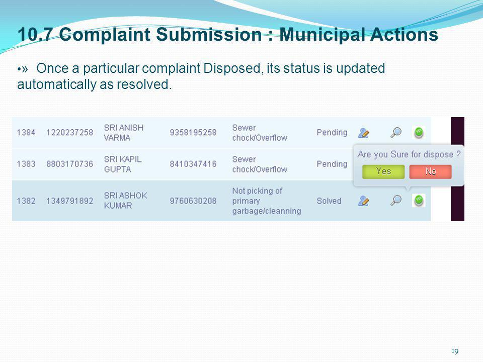10.7 Complaint Submission : Municipal Actions
