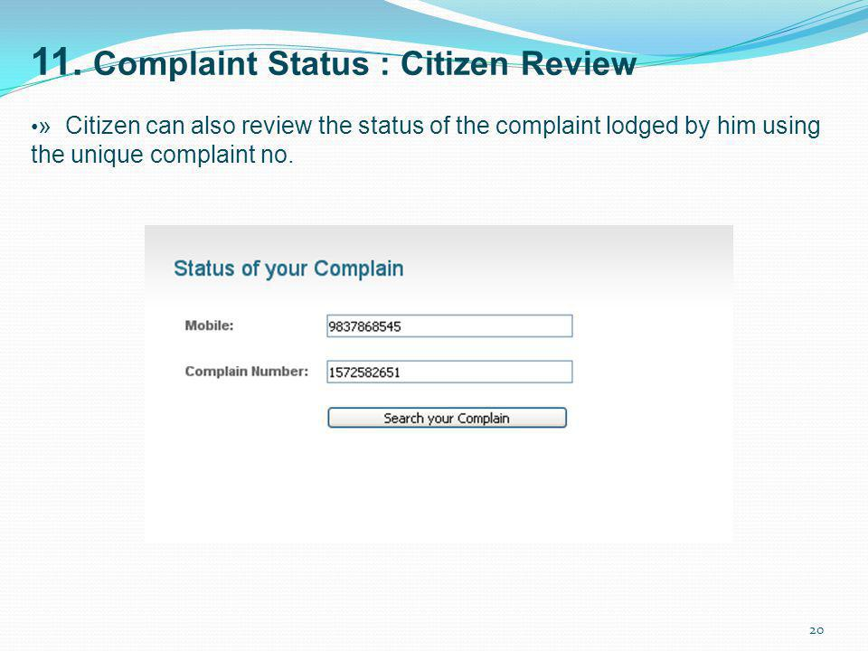 11. Complaint Status : Citizen Review