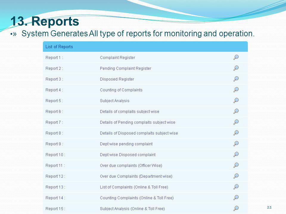 13. Reports •» System Generates All type of reports for monitoring and operation.