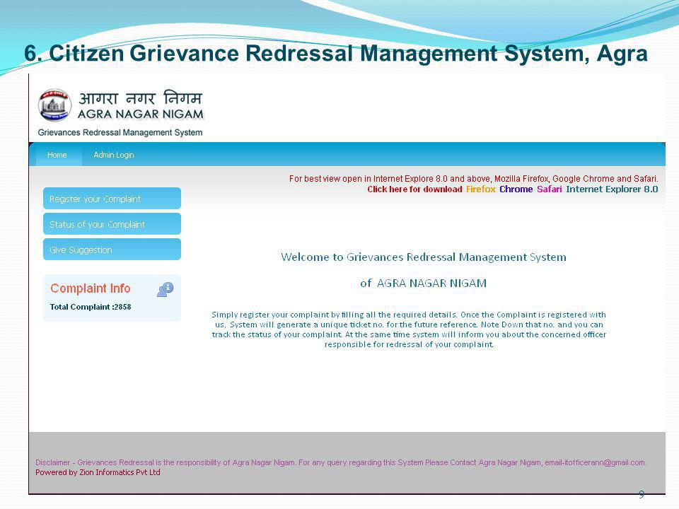 6. Citizen Grievance Redressal Management System, Agra