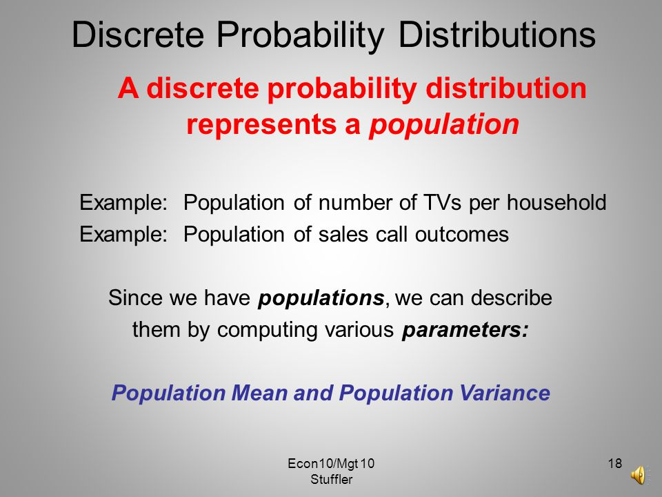 Population Mean and Population Variance