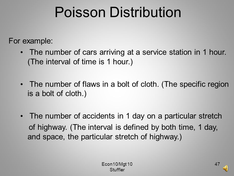 Poisson Distribution For example: