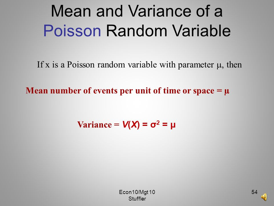 Mean and Variance of a Poisson Random Variable