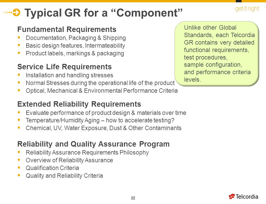 Typical GR for a Component