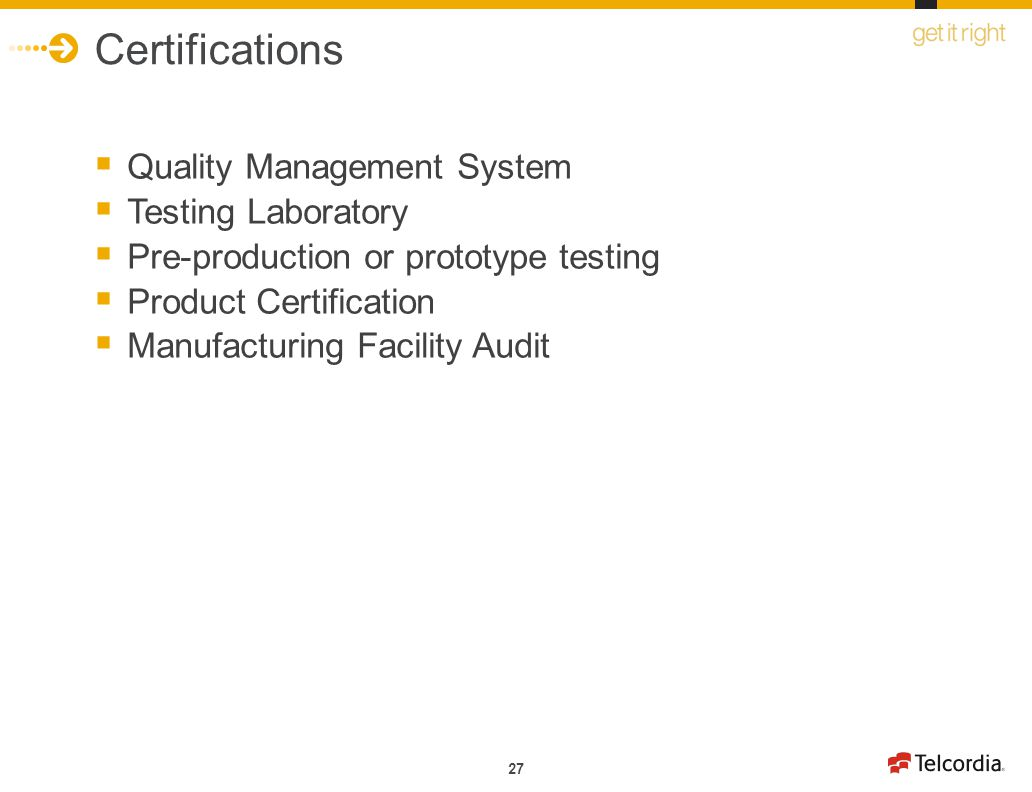 Certifications Quality Management System Testing Laboratory