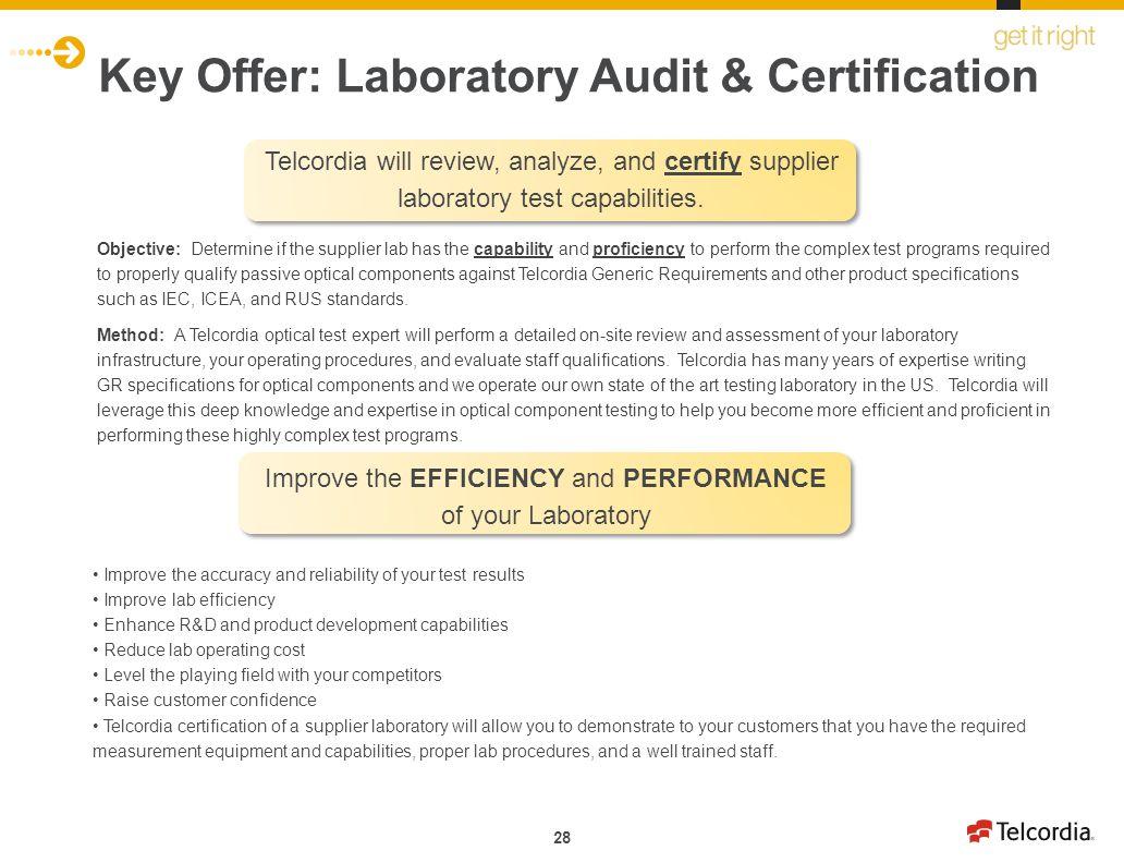 Key Offer: Laboratory Audit & Certification