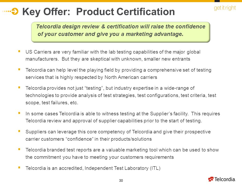 Key Offer: Product Certification