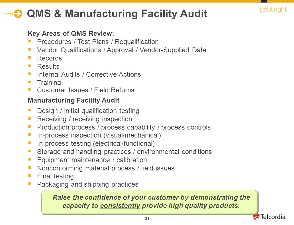 QMS & Manufacturing Facility Audit