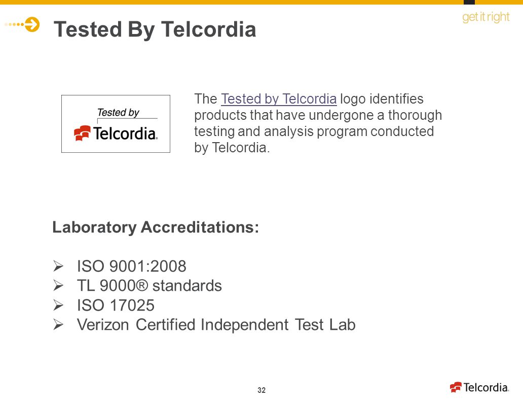 Tested By Telcordia Laboratory Accreditations: ISO 9001:2008