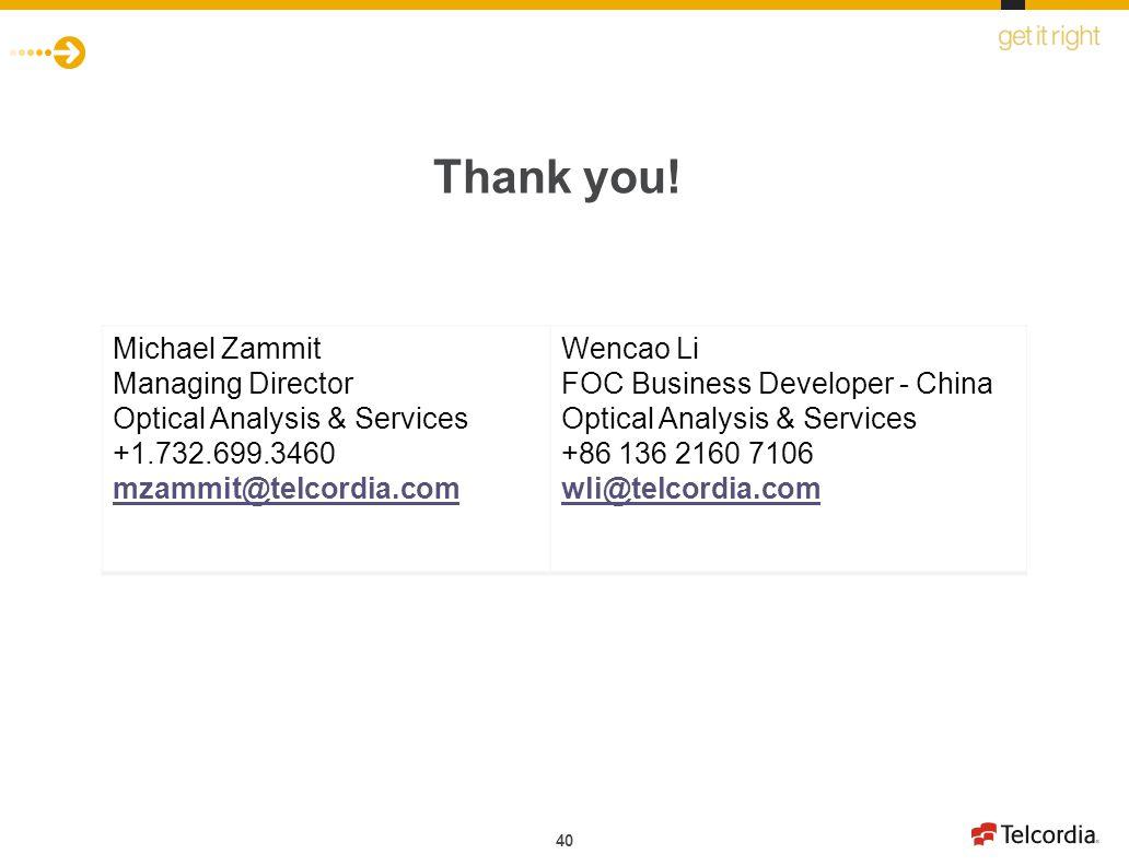 Thank you! Michael Zammit Managing Director