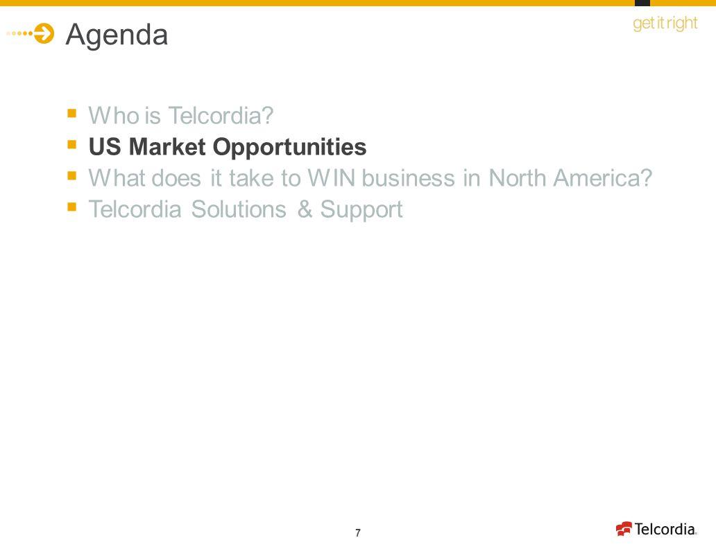 Agenda Who is Telcordia US Market Opportunities