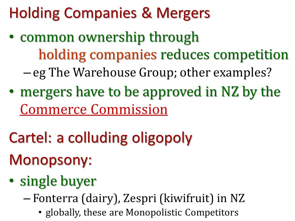 Holding Companies & Mergers