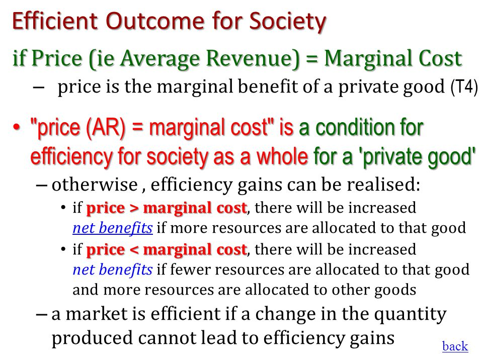 Efficient Outcome for Society