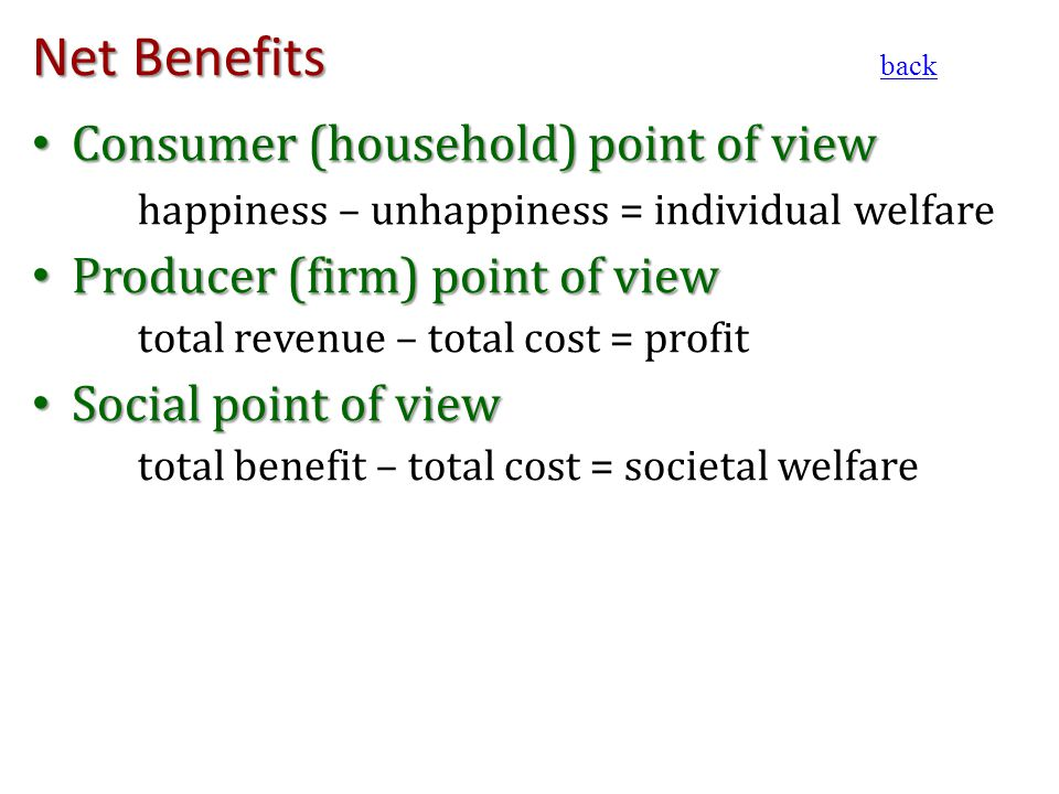 Net Benefits Consumer (household) point of view