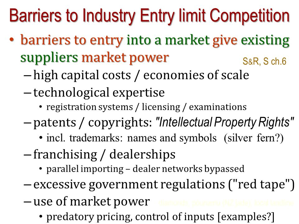 Barriers to Industry Entry limit Competition