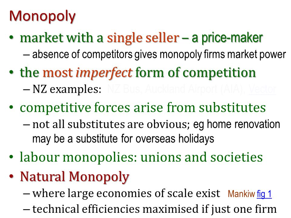Monopoly market with a single seller – a price-maker