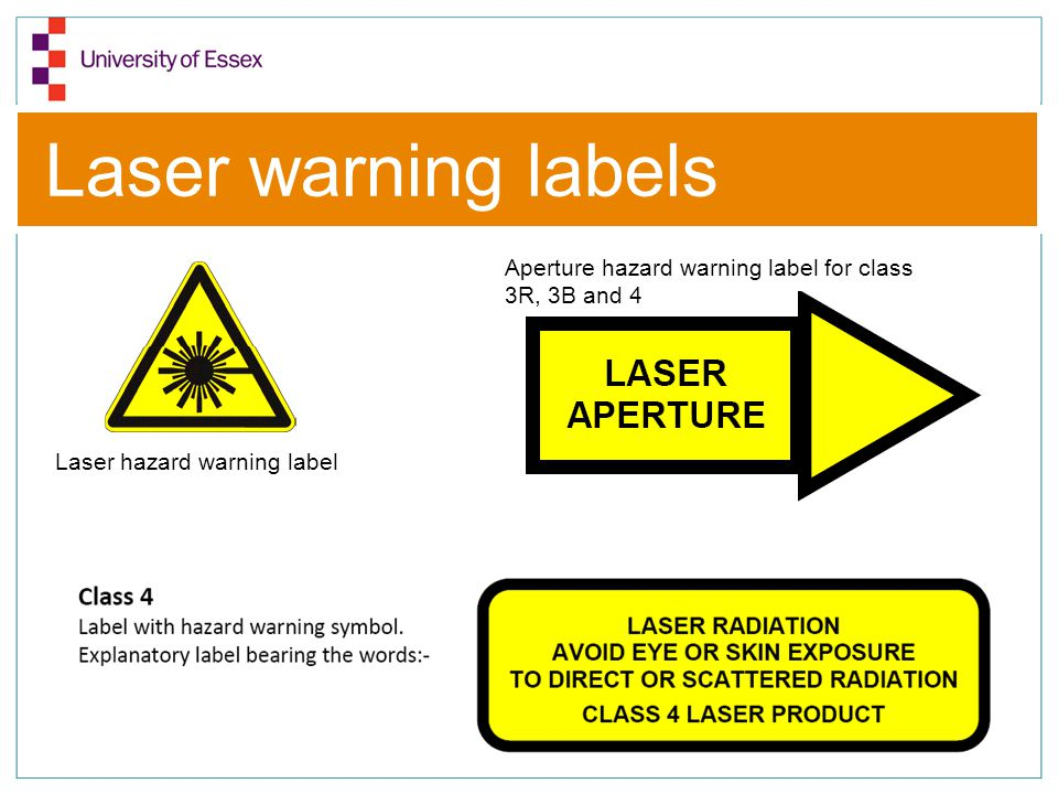 Laser warning labels Aperture hazard warning label for class 3R, 3B and 4.
