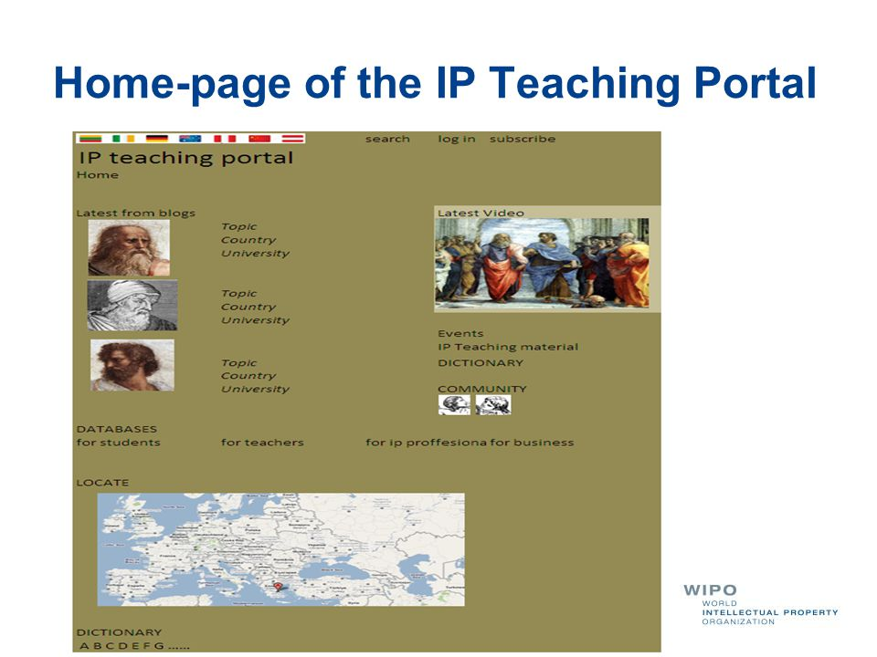 Home-page of the IP Teaching Portal