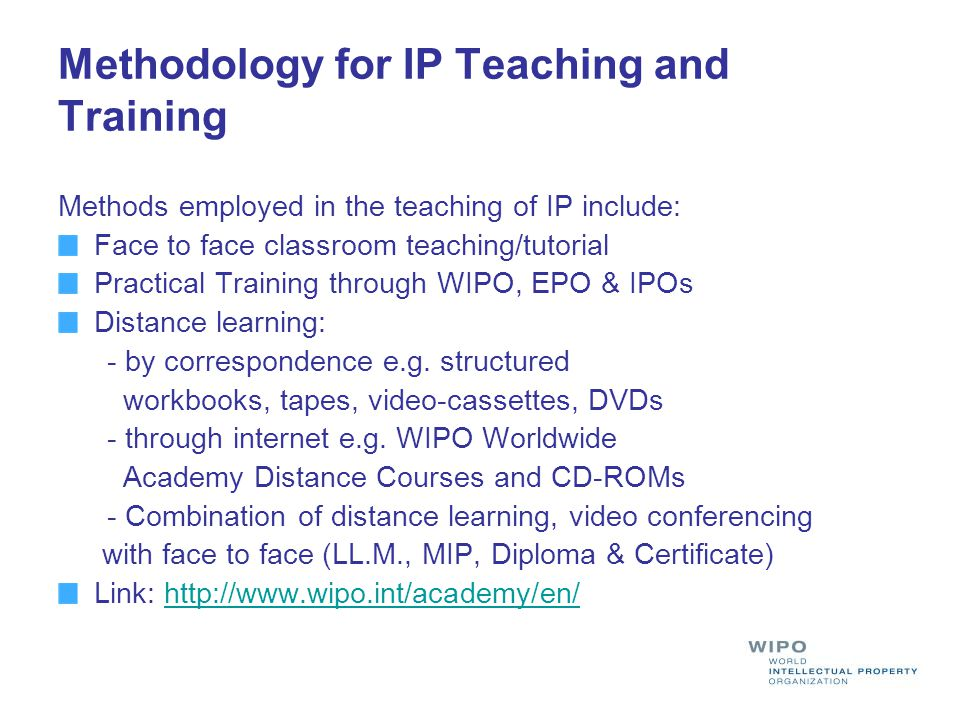 Methodology for IP Teaching and Training