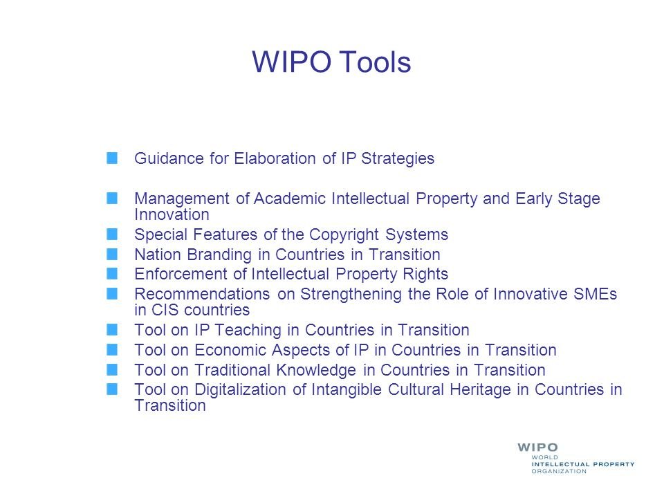 WIPO Tools Guidance for Elaboration of IP Strategies