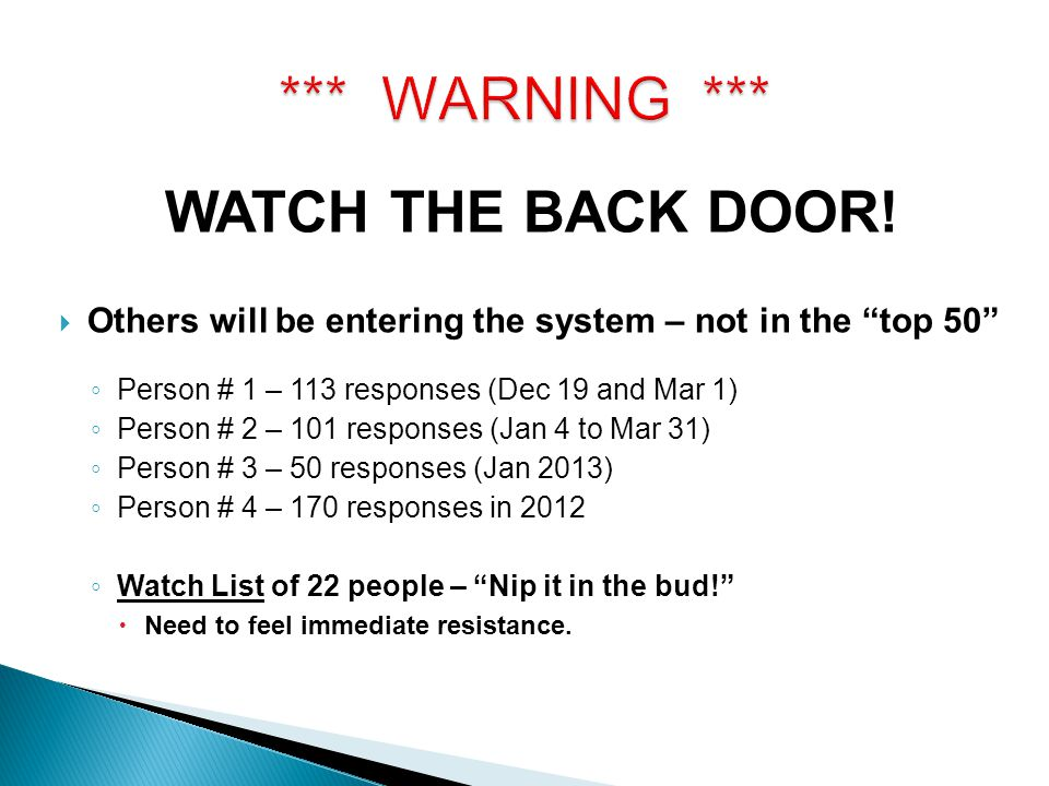*** WARNING *** WATCH THE BACK DOOR!