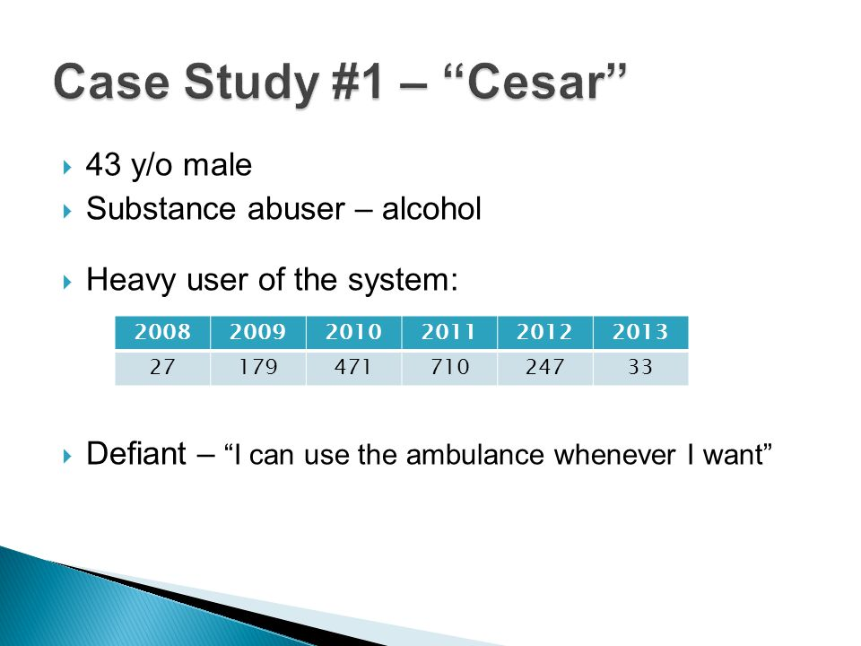 Case Study #1 – Cesar 43 y/o male Substance abuser – alcohol