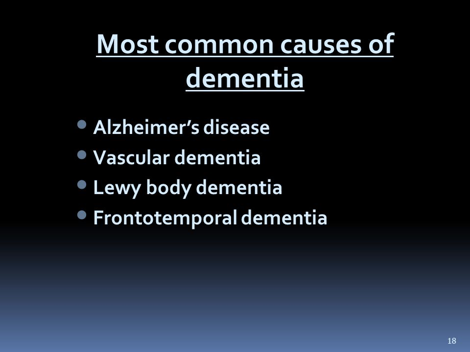 Most common causes of dementia