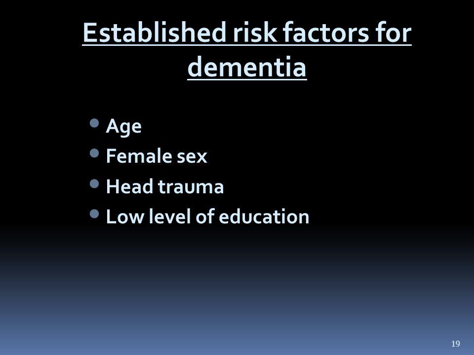 Established risk factors for dementia