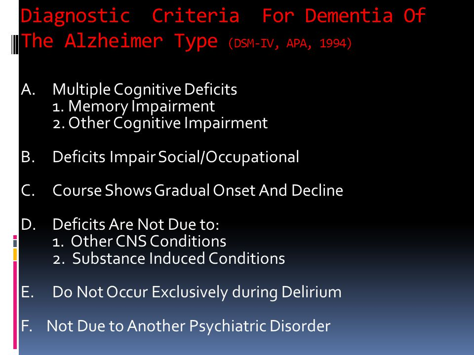 Diagnostic Criteria For Dementia Of The Alzheimer Type (DSM-IV, APA, 1994)